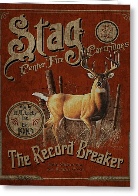 Antiques Sign Greeting Cards - Stag Record Breaker Sign Greeting Card by JQ Licensing