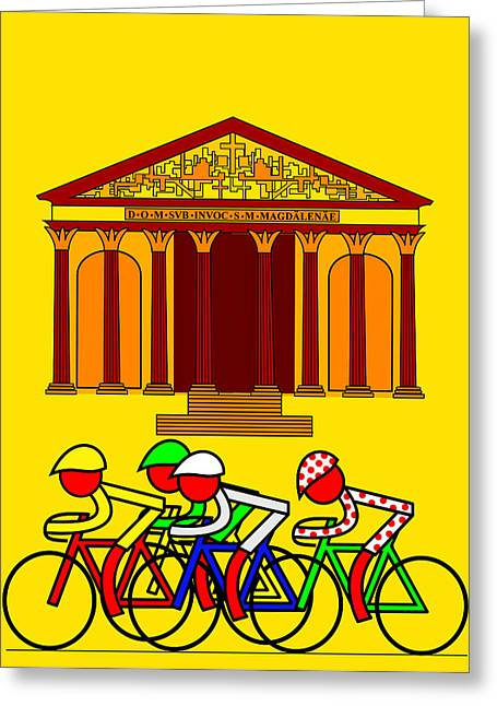 Stage 21  They Pass By L'eglise De La Madeleine Greeting Card by Asbjorn Lonvig