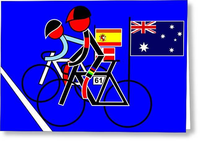Asbjorn Lonvig Digital Art Greeting Cards - Stage 4 Cadel Evens and Contador Greeting Card by Asbjorn Lonvig