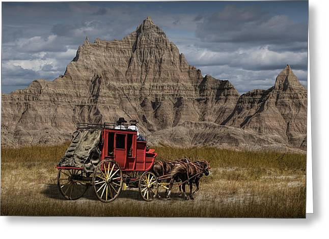 Depot Greeting Cards - Stage Coach in the Badlands Greeting Card by Randall Nyhof