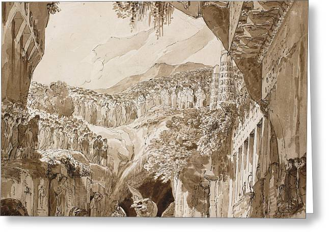 Grey Fine Art Greeting Cards - Stage design with a man fighting a dragon in a cave  Greeting Card by Lorenzo Quaglio