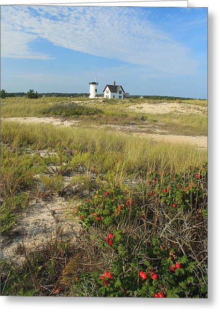 Chatham Greeting Cards - Stage Harbor Lighthouse Cape Cod Greeting Card by John Burk