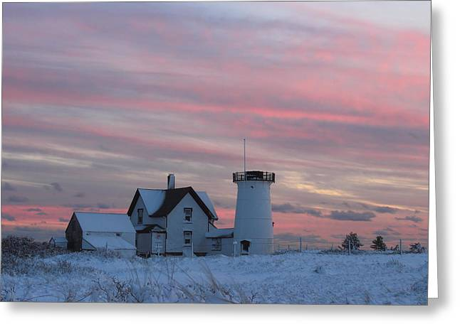 Stage Harbor Lighthouse Cape Cod Winter Sunset Greeting Card by John Burk