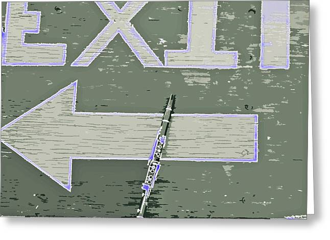 Exit Sign Greeting Cards - Stage Left Greeting Card by Joe Jake Pratt