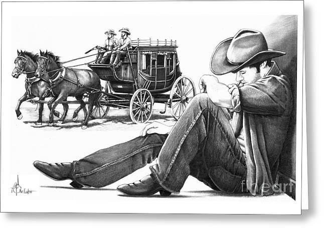 Cowboy Pencil Drawings Greeting Cards - Stagecoach and Cowboy Greeting Card by Murphy Elliott
