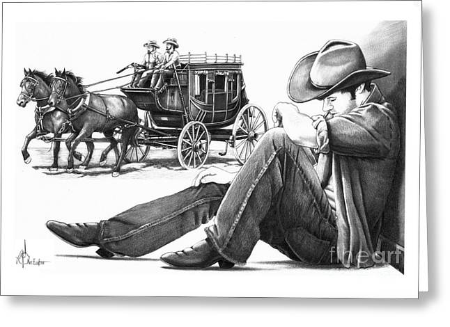 Western Pencil Drawings Greeting Cards - Stagecoach and Cowboy Greeting Card by Murphy Elliott