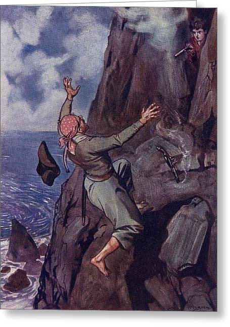 Brock Greeting Cards - Staggering Backward From The Ledge Fell Greeting Card by Vintage Design Pics