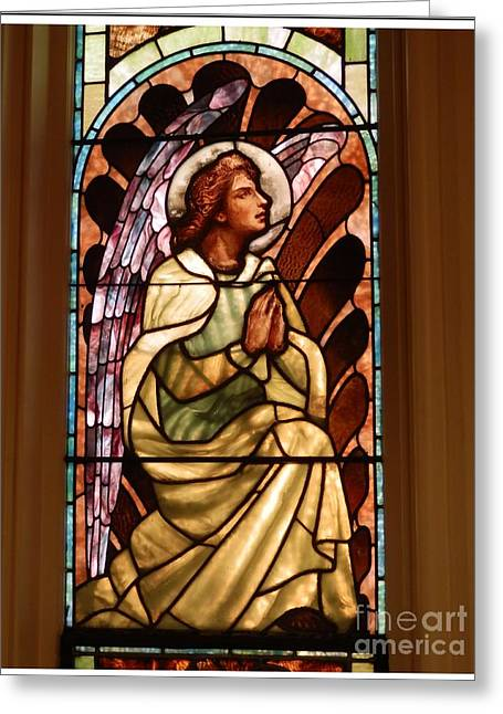 Gospel Greeting Cards - Stain Glass #1 Greeting Card by Marcia Lee Jones