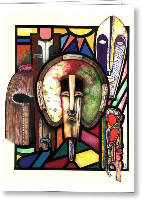 Black ist Drawings Greeting Cards - Stain Glass Greeting Card by Anthony Burks Sr