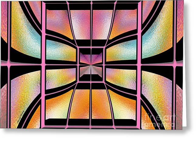 Geometric Image Greeting Cards - Stained Glass 7 Greeting Card by Cheryl Young