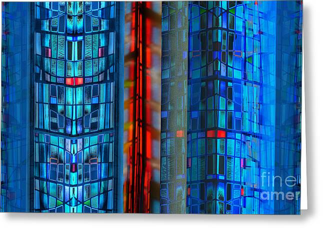 Stained Glass Abstract Greeting Card by Jeff Breiman