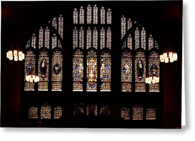 Glass Greeting Cards - Stained Glass - Abyssinian Baptist Church Harlem Greeting Card by Mountain Dreams