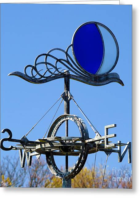 Weathervane Greeting Cards - Stained glass and metal weathervane. Greeting Card by Stan Pritchard