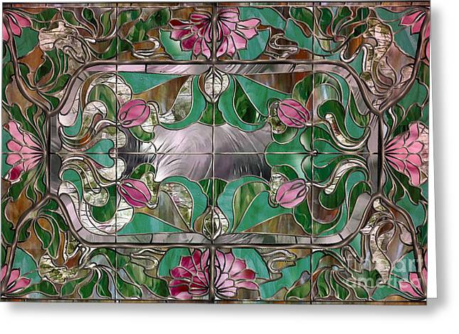 Stained Glass Greeting Cards - Stained Glass Art Nouveau Window Greeting Card by Mindy Sommers