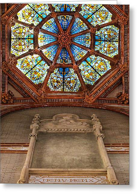Pau Spanish Greeting Cards - Stained Glass at Sant Pau Barcelona Spain Greeting Card by Dave Mills