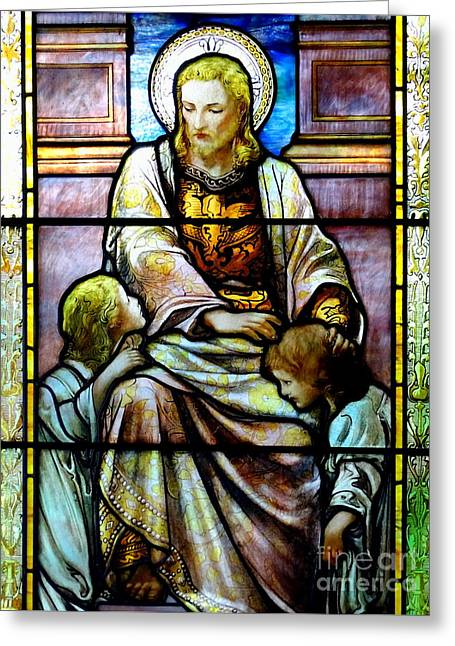 Child Jesus Greeting Cards - Stained Glass Beauty #25 Greeting Card by Ed Weidman
