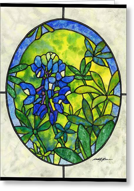 Stained Greeting Cards - Stained Glass Bluebonnet Greeting Card by Hailey E Herrera
