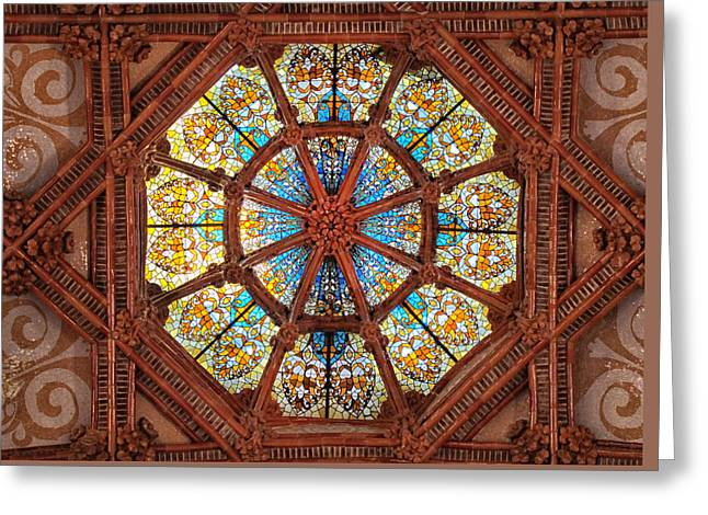 Pau Spanish Greeting Cards - Stained Glass Ceiling Window Greeting Card by Dave Mills