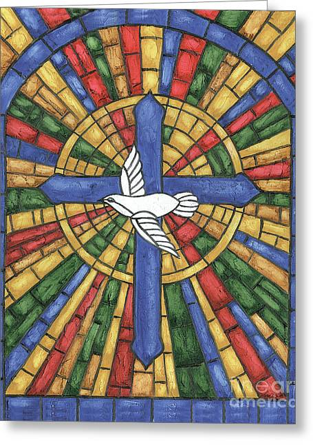 Stained Glass Cross Greeting Card by Debbie DeWitt