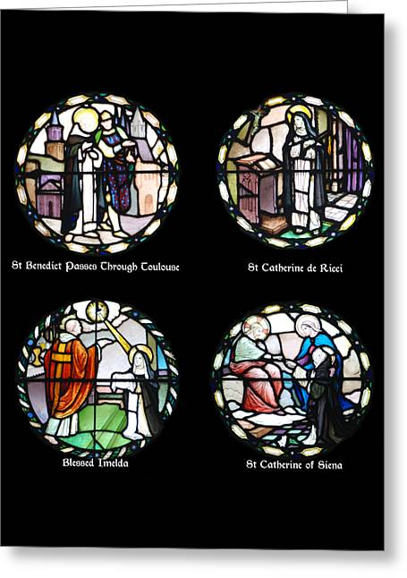 Catholic Glass Greeting Cards - Stained Glass Designs in the Benedictine Tradition Greeting Card by Philip Ralley