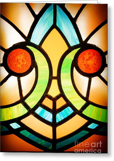 Stained Glass Detail Greeting Card by Jane Rix