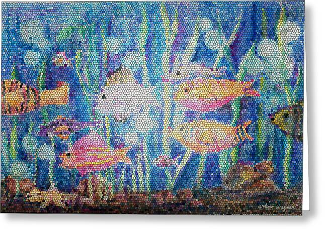 School Of Fish Greeting Cards - Stained Glass Fish Greeting Card by Arline Wagner