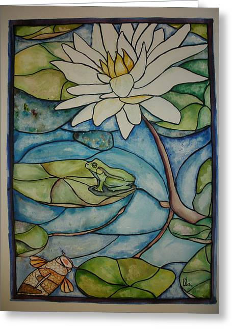 Lilly Pads Greeting Cards - Stained Glass Frog Greeting Card by Lee Stockwell