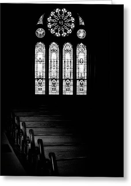 Stained Glass In Black And White Greeting Card by Tom Mc Nemar