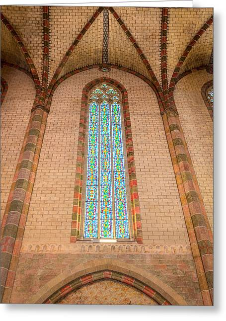 Coloured Glass Greeting Cards - Stained glass in the Church of the Jacobins in Toulouse Greeting Card by Semmick Photo