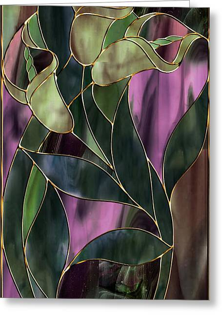 Stained Glass Khaki Callas Greeting Card by Mindy Sommers