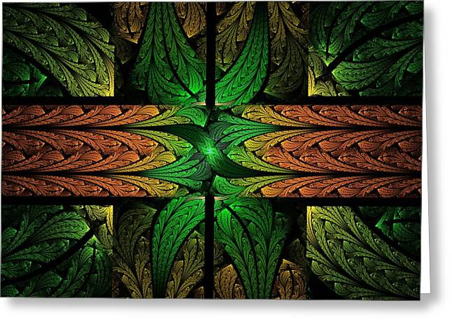 Apo Greeting Cards - Stained Glass Greeting Card by Lyle Hatch