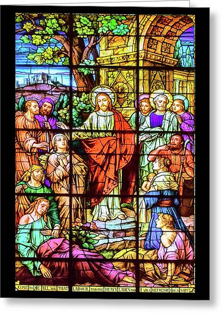 Stained Glass Of St. Lawrence Basilica Greeting Card by John Haldane
