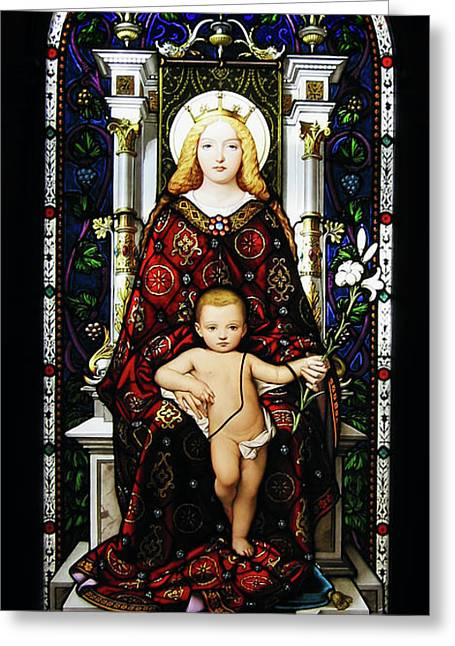 Child Jesus Greeting Cards - Stained Glass of Virgin Mary Greeting Card by Adam Romanowicz