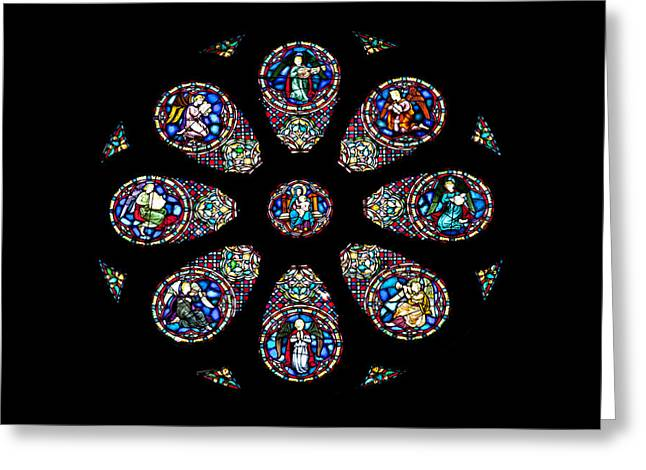 Stained Glass Rose Window In Lisbon Cathedral Greeting Card by Artur Bogacki