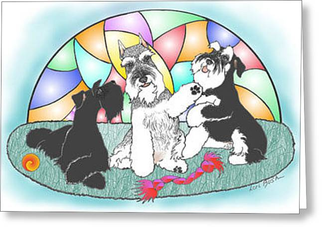 Standard Schnauzer Greeting Cards - Stained Glass Schnauzers Greeting Card by Ann Johnston
