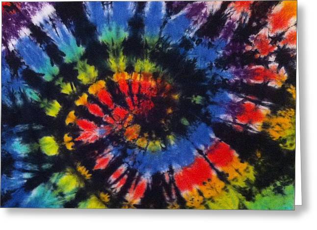 Spiral Tapestries - Textiles Greeting Cards - Stained Glass Tie Dye  Greeting Card by Pam Klein