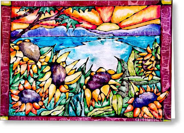 Beach Cottage Style Greeting Cards - Stained Glass Watercolor Summer Sunflowers Greeting Card by Caitlin  Lodato