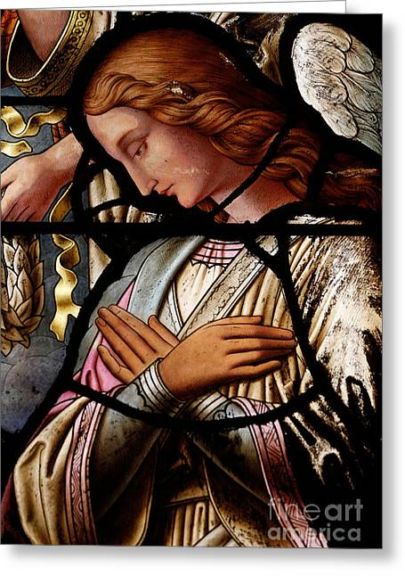 Christmas Greeting Photographs Greeting Cards - Stained glass window Angel Greeting Card by Unknown