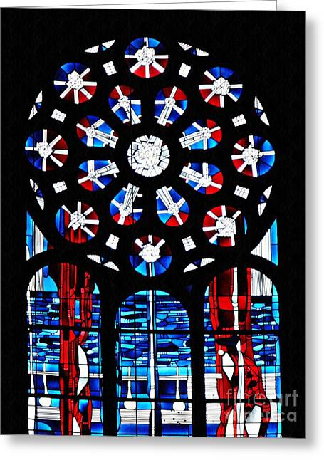 Stained Glass Window At St Boniface Church  Greeting Card by Sarah Loft