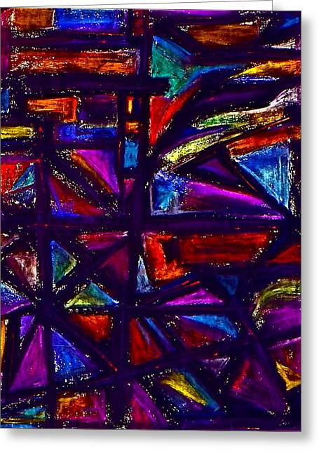 Stained Glass Pastels Greeting Cards - Stained Glass Window Greeting Card by Chris  Riley