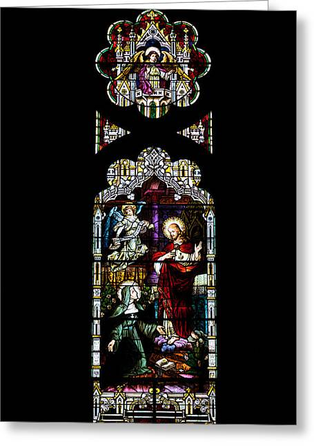 Kim Photographs Greeting Cards - Stained Glass Window - Church Greeting Card by Kim Hojnacki