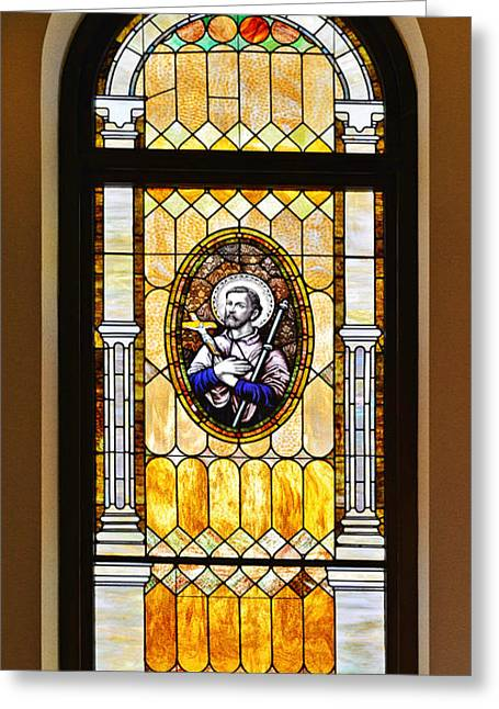 Old Houses Greeting Cards - Stained Glass Window Father Antonio Ubach Greeting Card by Christine Till