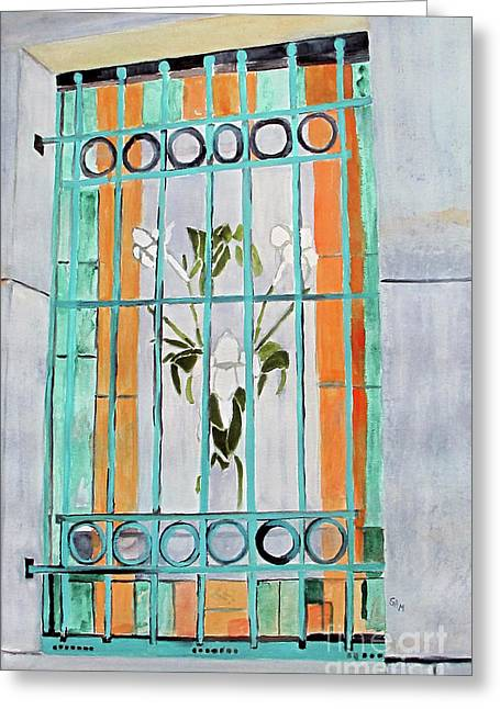Turquoise Stained Glass Greeting Cards - Stained Glass Window Greeting Card by Sandy McIntire