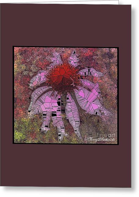 Stainglass Cone Flower Greeting Card by MaryLee Parker