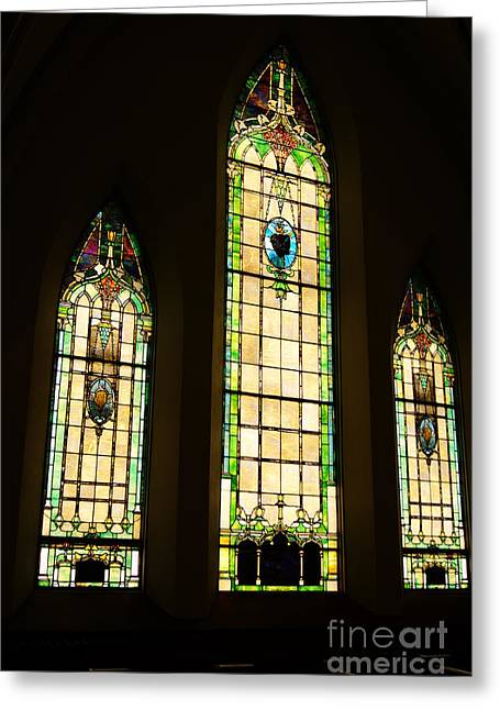 Stainglass Greeting Cards - Stainglass windows Greeting Card by Tina McKay-Brown