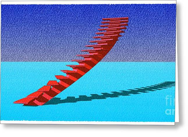 Stair 25 Cyan And Blue Abstract Architecture Classic Stair4 Greeting Card by Pablo Franchi