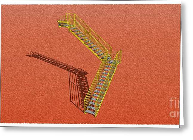 Stair 26 Yelloy And Orange Architecture Shadow Sketch Greeting Card by Pablo Franchi