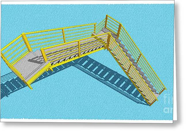 Stair 28 Cyan And Yellow Architecture Shadow Original Sketch For Architects Greeting Card by Pablo Franchi