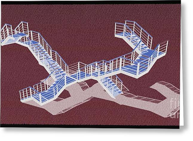 Stair 43 Negative Purple Shadow Architect Architecture Greeting Card by Pablo Franchi