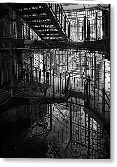 Stair Case Greeting Cards - Stair Case  And Safety Nets In Abandoned Prison - Urban Explorat Greeting Card by Dirk Ercken